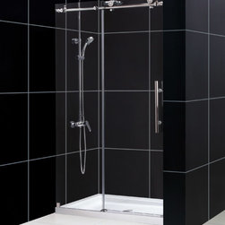 "Dreamline - Enigma-X 44 to 48"" Fully Frameless Sliding Shower Door, Clear 3/8"" Glass Door - The Enigma-X sliding shower door is the epitome of style, innovation and quality. The sleek Fully frameless design and high functioning performance deliver the look and feel of custom glass at an exceptional value. The impressive 3/8 in. thick tempered glass is factory treated with DreamLine exclusive ClearGlass protective coating for superior protection and easy maintenance. The substantial stainless steel hardware is the perfect marriage of urban style and effortless operation. Take your bathroom design to the limit with the high quality and sublime styling of the Enigma-X sliding shower door."