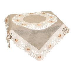 Xia Home Fashions - Victorian Elegance 34-Inch By 34-Inch Table Topper - Refined floral embroidery is rendered with cutwork and sheer to create a linens collection that is both classic and chic!