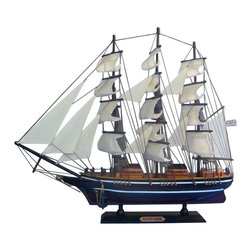 """Handcrafted Model Ships - Cutty Sark 20"""" - Wood Model Boat - Not a model ship kit. Attach sails and this Cutty Sark model clipper is Ready for Immediate Display. Built with the expressed intent to out-sail the Thermopylae, her closest competitor in the tea trade, the Cutty Sark quickly became one of the fastest ships on the sea. With a long and fascinating history, now on dry dock display in Greenwich, London the Cutty Sark is a world renowned vessel that commands respect and admiration. Place one of these fabulous model ships above the fireplace, in the den, or in your office, and imagine the glorious days when she once glided through the waves. 20"""" Long x 4"""" Wide x 17"""" High (1:203 scale)."""