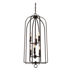 Steven & Chris Lighting - Birds of a Feather Black Six-Light 18-Inch Wide Chandelier - - Classic in design the Birds of a Feather introduced by Steven and Chris, come in black or chrome finished cages in various sizes  - Warranty: Artcraft has a limited lifetime warranty against any electrical or structural manufacturing defects on all of its indoor products. Steven & Chris Lighting - SC158BK