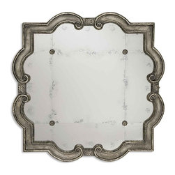 Uttermost - Prisca Distressed Silver Mirror, Silver with Black Undertones, Matching Rosettes - This mirror frame features a distressed silver leaf finish with black undertones. The etched, antiqued mirror has four matching rosettes.