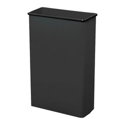 """Safco - Rectangular Wastebasket, 88 Qt. (Qty.3) - Black - Get the job done! This large 80 quart capacity is ideal for common collection sites throughout the office. Puncture-resistant, fire-safe, heavy-duty steel construction will not burn, melt or emit toxic fumes. Bottom is raised 1"""" to provide air cushion insulation in the event of fire. Color coordinated vinyl bumper tops and no-mar polyethylene feet protect furniture and floors. Units meet all OSHA requirements for waste receptacles and qualify under NFPA Life Safety Code 101, Section 31. Rectangular wastebasket is available in Black, Charcoal or Sand powder coat finish. Packed 3 per carton.; Features: Material: Steel; Color: Black; Finished Product Weight: 15 lbs.; Assembly Required: No; Limited Lifetime Warranty; Dimensions: 20 3/4""""W x 11""""D x 29 1/2""""H"""