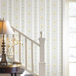 Palmer Blue Stripe Brewster Wallpaper - The Claremont book from Brewster is full of classic colors and patterns to add a relaxed feeling of home to rooms.