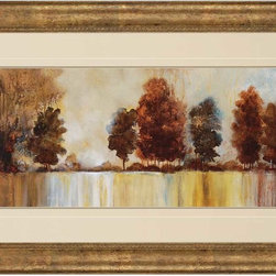 "Paragon Decor - Morning Mist Artwork - Brighten up those boring walls with this colorful piece, ""Morning Mist"" which depicts a beautiful image of golden and amber trees along the banks of a glassy lake in the early serene morning. This piece resembles the views one might see while lackadaisically floating in a canoe. It is surrounded by an off-white matte and antiqued frame. This piece measures 51 inches wide, 2 inches deep, and 33 inches high."