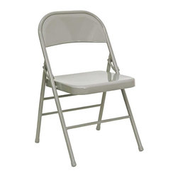 Flash Furniture - Hercules Folding Chair - Set of 4 - Set of 4. Metal commercial grade folding chair. Triple braced frame. Double hinged. V-Tip stability caps. Non marring floor glides. Warranty: 2 year limited. Made from 18 gauge steel. No assembly required. Back: 18 in. W x 14.5 in. H. Seat: 15.75 in. W x 15.75 in. D. Seat Height: 16.75 - 17.75 in.. Overall: 19 in. W x 18 in. D x 30 in. H (6 lbs.)