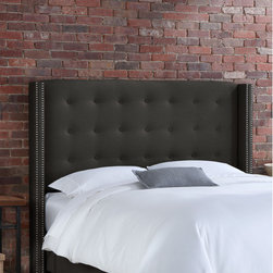 """Skyline Furniture - Button Tufted Linen Wingback Headboard - This wingback headboard sets a modern feel with its unique design. It's upholstered in soft, delicate linen and embellished with button tufts and ornamental nail buttons along the wings. It's guaranteed to be the focal point of any bedroom. Attaches to any standard bed frame. Features: -Solid pine frame, metal legs, polyurethane foam, polyester fill foam.-Spot clean only.-Made in the USA.-Color: Charcoal.-Button Tufted collection.-Gloss Finish: No.-Frame Material: Pine wood.-Hardware Material: Steel.-Wall Mounted: No.-Reversible: No.-Media Outlet Hole: No.-Built In Outlets: No.-Hardware Finish: Black metal.-Finished Back: No.-Distressed: No.-Hidden Storage: No.-Freestanding: No.-Frame Included: No.-Drill Holes for Frame: Yes.-Commercial Use: No.-Recycled Content: No.Specifications: -EPP Compliant: No.-CPSIA or CPSC Compliant: Yes.-CARB Compliant: Yes.-JPMA Certified: No.-ASTM Certified: No.-ISTA 3A Certified: Yes.-PEFC Certified: No.-General Conformity Certificate: Yes.-Green Guard Certified: No.Dimensions: -Overall Product Weight (Size: California King): 63 lbs.-Overall Product Weight (Size: Full): 56 lbs.-Overall Product Weight (Size: King): 68 lbs.-Overall Product Weight (Size: Queen): 61 lbs.-Leg Height: 6"""".-Bottom of Headboard to Floor: 24"""".Assembly: -Assembly Required: Yes.-Tools Needed: Allen wrench, wrench.-Additional Parts Required: No.Warranty: -1 Year limited.-Product Warranty: 1 Year limited (Excludes fabric)."""
