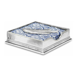 """Match - Match Cocktail Napkin Box with Feather - This gorgeous square napkin box is handmade from the finest Italian pewter and comes with a pewter feather to keep cocktail napkins in place. Perfect wedding or housewarming gift. Measures 6.1"""" SQ x 1.6"""" H."""