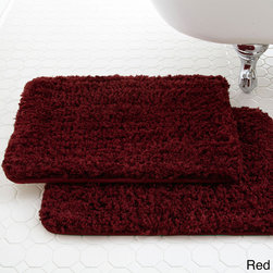 None - Spa Collection Shaggy Memory Foam Bath Mat (Set of 2) - Designed to absorb water like a sponge and help protect floors from damaging puddles of water,your feet will love stepping on to this soft cushion of memory foam encased in super-absorbent microfiber. This mat comes in several on-trend colors.