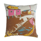 """KOKO - Nesting Pillow, Yellow/Brown, 18"""" x 18"""" - This looks like a painting on a pillow. The bright colors are balanced so well with the earthy brown, and you could build a beautifully eclectic collection of pillows around it."""
