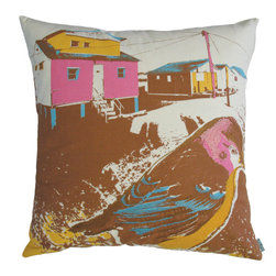"""KOKO - Nesting Pillow, Yellow and Brown, 18""""x18"""" - This looks like a painting on a pillow. The bright colors are balanced so well with the earthy brown, and you could build a beautifully eclectic collection of pillows around it."""