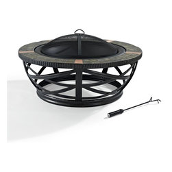 Crosley Furniture - Glendale Round Slate Firepit in Black - Oversized Bowl for Longer and Warmer Fires. 360 View of Fire. Sturdy Steel Construction. Sturdy Legs. Includes Poker to Keep Fire Stoked. Full Coverage Steel Mesh Lid. Genuine Tile Surround. Assembly Required. 40 in. L X 40 in. W X 21.75 in. H (53.5 lbs.)The Crosley Glendale Firepit is so handsome, you'll likely make it the centerpiece of your outdoor entertainment space.  Made of powder coated steel, the intricate base compliments a deep bowl, perfect for those backyard baby bonfires.   Tuscan - inspired tile surrounds the pit, adding a bit of European flair to the experience.  A wire mesh spark guard and fire poker are included.