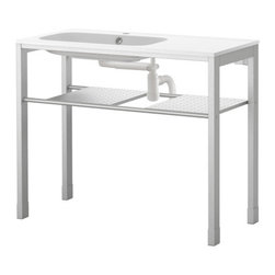 Francis Cayouette - GRUNDTAL/NORRVIKEN Sink with leg frame - Sink with leg frame, white, stainless steel