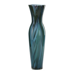 Cyan Design - Tall Peacock Feather Vase - Tall peacock feather vase - multi colored blue