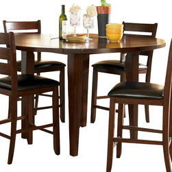 Homelegance - Homelegance Ameillia Drop Leaf Round Counter Height Table in Dark Oak - Blending the clean lines of Arts & Crafts with functional movement, the Ameillia Collection is a solid addition to your casual dining space. The drop-leaf counter height table features a lazy-susan making mealtime service a breeze. Substantial tapered legs and birch veneer in a dark oak finish complement this simple and refined dining option.