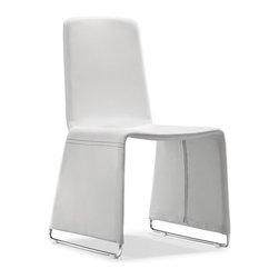 Zuo Modern - Zuo Nova Dining Chair in White [Set of 2] - Dining Chair in White belongs to Nova Collection by Zuo Modern The unique, contemporary design is sure to make the Nova Leatherette Dining Chair from Zuo Modern a conversation piece. The soft black leatherette cover displays only a hint of the shiny chromed steel legs underneath for a look that is both refined and subtle. Stacking Chair (2)