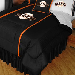 Sports Coverage - MLB San Francisco Giants Sidelines Comforter and Sheet Set Combo - Queen - This is a great MLB San Francisco Giants Bedding Comforter and Sheet set combination! Buy this Microfiber Sheet set with the Comforter and save off our already discounted prices. Show your team spirit with this great looking officially licensed Comforter which comes in new design with sidelines. This comforter is made from 100% Polyester Jersey Mesh - just like what the players wear. The fill is 100% Polyester batting for warmth and comfort. Authentic team colors and logo screen printed in the center.   Microfiber Sheet Hem sheet sets have an ultrafine peach weave that is softer and more comfortable than cotton.  Its brushed silk-like embrace provides good insulation and warmth, yet is breathable.  The 100% polyester microfiber is wrinkle-resistant, washes beautifully, and dries quickly with never any shrinkage. The pillowcase has a white on white print beneath the officially licensed team name and logo printed in vibrant team colors, complimenting the NEW printed hems. The Teams are scoring high points with team-color logos printed on both sides of the entire width of the extra deep 4 1/2 hem of the flat sheet.  Includes:  -  Flat Sheet - Twin 66 x 96, Full 81 x 96, Queen 90 x 102.,    - Fitted Sheet - Twin 39 x 75, Full 54 x 75, Queen 60 X 80,    -  Pillow case Standard - 21 x 30,    - Comforter - Twin 66 x 86, Full/Queen 86 x 86,