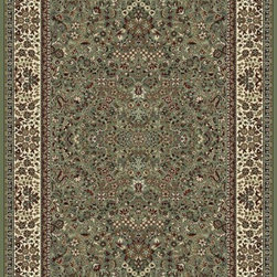 "Dynamic Rugs - Dynamic Rugs Ancient Garden 57078-4444 (Green, Ivory) 6'7"" x 9'6"" Rug - Turn of the Century Persian patterns are skill fully recreated in this exciting and sophisticated collection. The antique shades from sun-washed colors are blended softly with today's fashion of low contrast patterns with field colors of champagne, dusted blue, soft greens, creme, malt and a luxurious black or ruby red. Woven with DECOLAN, a wool-like fine heat-set polypropylene fibre at nearly a million points per square meter to achieve a fine pencil point finish and design clarity."