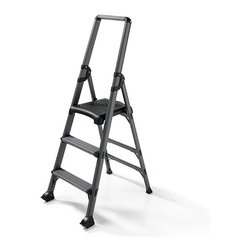 "Frontgate - High Reach 3-Step Ladder - Crafted from durable aircraft-grade aluminum. 3½"" deep steps. Folds down to a width of 5¼"" for storage. Conforms to ANSI Type IA commercial standards. 300-lb. capacity. Featuring a top step that's significantly higher than typical 3-step models, this lightweight aluminum ladder gives you the added reach you need for all your household tasks.  . 3 1/2 "" deep steps . Folds down to a width of 5 1/4 "" for storage .  .  ."
