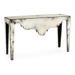 "Kathy Kuo Home - Evangeline Hollywood Regency Antique Mirror Scalloped Console Table - Rarely do we come across mirrored pieces which have been so expertly ""foxed"" or distressed.  From the tapered legs to the scalloped edges, every inch of this vintage inspired console table has been meticulously treated in order to create one of the most convincing antique mirror effects we've seen.  Whether placed in a French Country or Hollywood Regency style context, the lines of this table and the expertly foxed effect are utterly beguiling and just right."