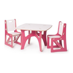 Sprout - Kids Table & 2 Chairs, Pink & White - The Sprout Kids Table and Chairs are perfect for drawing, play, or projects. They are made just the right size so you won't have to worry about potential falls, securing a booster seat, or helping your little ones climb up and down. The surface is durable and stain resistant so any spills will clean up easily. Patent pending Tension Lock Technology uses the natural properties of wood to create a sturdy durable joint that can be assembled and disassembled repeatedly.