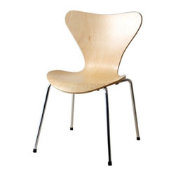 Fine Mod Imports Jays Dining Chair, Natural - A molded plywood chair with chrome legs. A simple design with maximum comfort, the Jay Dining Chair will match up to any table of your choice. Chair is stackable for convenient storage.