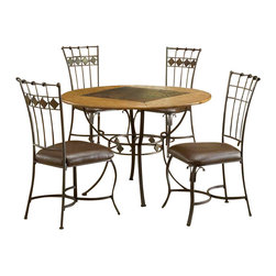 Hillsdale - Hillsdale Lakeview 5-Piece Round Dining Set with Slate Chairs in Brown - Hillsdale - Dining Sets - 4264DTBRDCS - Rustic textures and colors combine to create Hillsdale Furniture's Lakeview dining collection. Boasting a striking fusion of medium oak wood, coppery brown metal, and a dynamic slate inlay in the center of the table. Composed of heavy gauge tubular steel, solid wood edges, climate controlled wood composites and veneers, this unique group is a perfect addition to your home.