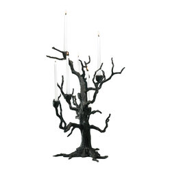 Kathy Kuo Home - Rustic Carved Sculpted Iron Tree 6 Arm Candleholder - Bold, organic and contemporary gothic are the signature styles of this conversation starter!  Crafted from iron this piece can work as a sculptural art piece or seasonal decoration.
