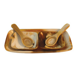 Be Home - Light Horn Salt and Pepper Set, Rectangular - Shake the shaker and add some handmade flavor to your next dinner party. This salt and pepper set is carved from the horns of domesticated water buffalo and features a tray and two spoons for sprinkling in style. Each is unique in color, shape and natural beauty.