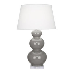 Robert Abbey - Robert Abbey Large Triple-Gourd Table Lamp with Lucite Base A359X, Smoky Taupe - Smokey Taupe Glazed Ceramic