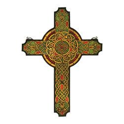 Meyda Tiffany - Meyda Tiffany Jeweled Celtic Cross Window X-68997 - Scarlet jewels circle a handsome Celtic cross ofCarnelian Red, Moss Green and Honey interlacedknotwork. Handcrafted utilizing the copperfoilconstruction process and 790 pieces of stained artglass encased in a solid brass frame. Mounting bracketand jack ch