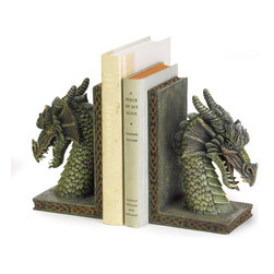 "KOOLEKOO - Fierce Dragon Bookends - Your most treasured tomes will remain upright with these mythical dragon guardians! Richly rendered in astonishing detail, these bookends add a mystical decorative touch to any room. Each is 10.25"" x 3.25"" x 7"" high."