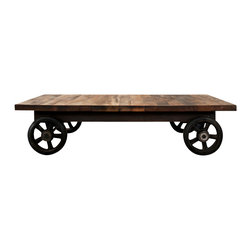 Nuevo Living - V33 Coffee Table, Small - Roll out the same old and roll in new bold with this reclaimed cast iron and hardwood-coffee table. Playing an industrial chic song, it can display your rustic hurricane lamp collection and keep the movie night popcorn handy without skipping a beat. You get to choose from a small or large size, which odds-on is music to your eclectic-loving ears.