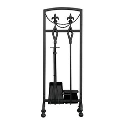 Uniflame - Uniflame F-1452 5 Piece Olde World Iron Fleur-De-Lis Fireset - 5 Piece Olde World Iron Fleur-De-Lis Fireset belongs to Fireplace Accessories Collection by Uniflame