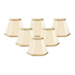 """Royal Designs, Inc"" - Decorative Trim Hexagon Empire Chandelier Lampshade - ""This shade is a part of Royal Designs, Inc. Timeless Chandelier Shade Collection and is perfect for anyone who is looking for a simple yet stunning lampshade. Royal Designs has been in the lampshade business since 1993 with their multiple shade lines that exemplify handcrafted quality and value."