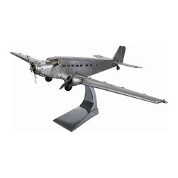 "Authentic Models - Authentic Models Junker Airplane - This Junker airplane is handmade and hand finished with metal and wood. It is a stunning model to place on your desk in your home of office. Comes with an aluminum desk stand included. This can make a great gift for a friend too.   * Dimensions:  26.5"" x 38.5"" x 10.25""."