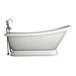 "Baths of Distinction - Hotel Collection Single Slipper Pedestal Bathtub/Faucet Package, 67"" Length - Package consists of an absolutely breathtaking 67"" single slipper pedestal bathtub along with hardware including faucet with handheld shower, drain with lift off stopper, and straight supply lines all in chrome.  Bathtub is made of CoreAcryl acrylic with a resin/powdered stone filler.  Bathtub has a built in aluminum heat barrier within the tub body."