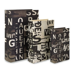 "IMAX - Text Collage Book Boxes - Set of 3 - Set of 3 letter collage boxes, black and white for a unique twist of storage Item Dimensions: (9.5-12.5-14.5""h x 6.5-8.25-10""w 2.75-3.75"")"