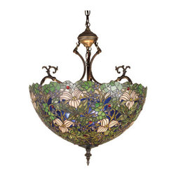 """Meyda Tiffany - Meyda 20""""W Trillium and Violet Inverted Pendant - Nature abounds in this Meyda Tiffany designer stained-glass shade. Glistening ruby red berries, Ivory trilliums and clusters of Purple violets with Woodland Green leaves make a lacework of wildflowers against a Cobalt Blue forest sky. Each piece of glass in the shade is hand cut and wrapped in copper foil. The inverted pendant hardware is hand finished in Mahogany Bronze."""