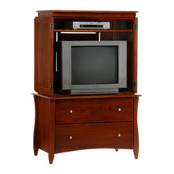 Night & Day Furniture - Night and Day Clove Armoire - Base Only - Our Clove Armoire; what a problem solver! Relax in the peace of your bedroom knowing there is room for everything in this perfect entertainment center. Big space for the TV, shelf for players and the game boxes, swing-around doors ensuring maximum viewing angle and, not least, two big drawers for everything else. Fits everything.