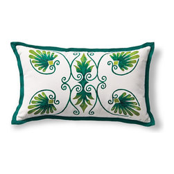 Frontgate - Anthemion Green Outdoor Lumbar Pillow - 100% solution-dyed acrylic cover. Resists fading, mold and mildew. Spot clean with mild soap and water; air-dry only. Zipper closure. Coordinates with the Anthemion Monogram Pillow and the Medallion Pillow. The Outdoor Hand-painted Anthemion Lumbar Pillow is sure to spruce up any outdoor setting with its bright jade, medallion pattern. The plush, jade-bordered pillow will delight throughout the seasons.  .  .  .  .  . Made in the USA.