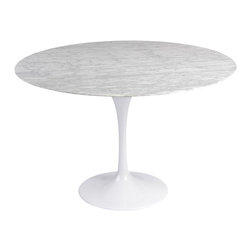 White Round Modern Dining Table - Inspired by the Eero Saarinen Tulip Table.  Beautiful white marble top dining table with aluminum leg.  Custom made with one aluminum leg to clear up the slums of the typical table legs.  Great for modern and contemporary settings.  Looks perfect in any dining atmosphere!