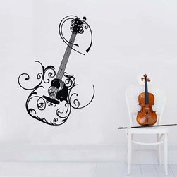 ColorfulHall Co., LTD - Music Wall Decals Art Guitar with Flower Decoration - Music Wall Decals Art Guitar with Flower Decoration