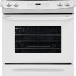 """Frigidaire - FFGS3025PW ADA Compliant 30"""" 4.5 cu. ft. Large Capacity Slide-In Gas Range with - The FFGS3025P Frigidaire 30 Slide-In Gas Range is packed with features Easily control your cooking temperature with the easy-to-use Ready-Select Controls The large capacity oven gives you room to cook more at once Power clean gives your oven a heavy-..."""
