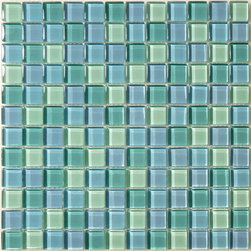 "Glass Tile Oasis - Turquoise Blue Blend 1"" x 1"" Blue Crystile Blends Glossy Glass - Sheet size:  12"" x 12""        Tile Size:  1"" x 1""        Tiles per sheet:  144        Tile thickness:  1/4""        Grout Joints:  1/8""        Sheet Mount:  Mesh Backed     Sold by the sheet     -  Our Crystile Series offers a wide range of hues to suit your mood and your style! The vibrancy and depth of our crisp smooth glass results in a unique and dramatic effect for use in both residential and commercial installations.  The Crystile Series is virtually limitless in its range of applications and is suitable for the following walls backsplashes and any area just waiting to be transformed by light and color! Our sheets of mesh-mounted glass can be used to produce and endless variety of field patterns borders and medallions. This Series is ideal for use alone or as an exquisite complement to ceramic and natural stone materials. Let creativity be your guide. Crystile tiles are are easy to clean and maintain. Our tiles will never discolor and will continue to provide a smooth and luxurious appearance for many years to come."