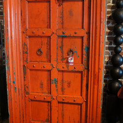 Antique panelled teak  front door with original painted finish & iron detail. -