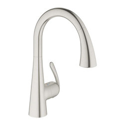 Grohe - Grohe Ladylux Single Handle Pullout Kitchen Faucet, RealSteel (32 298 SD1) - Grohe 32 298 SD1 Ladylux Single Handle Pullout Kitchen Faucet, RealSteel