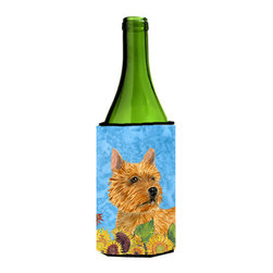 Caroline's Treasures - Norwich Terrier in Summer Flowers Wine Bottle Koozie Hugger - Norwich Terrier in Summer Flowers Wine Bottle Koozie Hugger Fits 750 ml. wine or other beverage bottles. Fits 24 oz. cans or pint bottles. Great collapsible koozie for large cans of beer, Energy Drinks or large Iced Tea beverages. Great to keep track of your beverage and add a bit of flair to a gathering. Wash the hugger in your washing machine. Design will not come off.