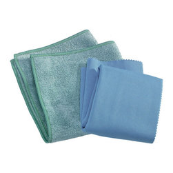 E-Cloth Kitchen Pack 2 Piece Cleaning Cloth Set - Why E-cloth instead of how you've been cleaning?  It is the safest most effective way for you to clean almost everything.E-cloth's unrivaled fiber technology allows it to perform at the highest level  absorbing moisture and removing everything in its path using just water as its cleaning companion. The superior microscopic texturing penetrates and removes dirt  grease  oil  grime and bacteria from all hard surfaces. No chemical residue is left behind - just a thoroughly cleaned  polished surface. (Not for use on electronic screens and delicate lenses.)Versatile  easier cleaning - excellent on stainless steel  countertops  glass  chrome  granite  marble  tile and wood - throughout the home  in the workplace or outdoors. And E-cloth's fiber function makes cleaning just about everyplace faster and easier.