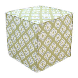 """Chooty - Chooty Macie Leaf Collection 17"""" Square Seamed Foam Ottoman - Insert 100 High Density Foam, Fabric Content 55 Linen 45 Viscose, Color Green, Cream, Tan , Hassock 1"""