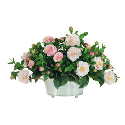 Winward - Camellia Centerpiece Flower Arrangement - Why not give your brown thumb a break and invest in a permanent camellia centerpiece? You'll enjoy the look of freshly cut blooms all year long without ever worrying about watering, fertilizing or pruning. Just pick the perfect spot to show off this grand arrangement.